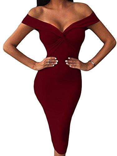 BEAGIMEG Women's Sexy Draped V Neck Off Shoulder Bodycon Midi Party Dress Wine Red (Draped Shoulder Dress)