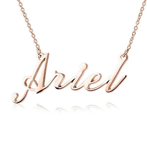 LONAGO Personalized Name Necklace 18K Gold Custom Made Any Name Rose Gold Sterling Silver Gifts Mother Father's Day (Rose-Gold-Plated Silver, 16.00) ()