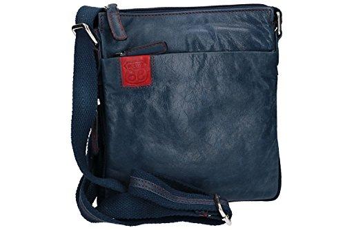 Umgehängt herren ROUTE 66 blau bandolier Taschen Kleine aus leder VF369