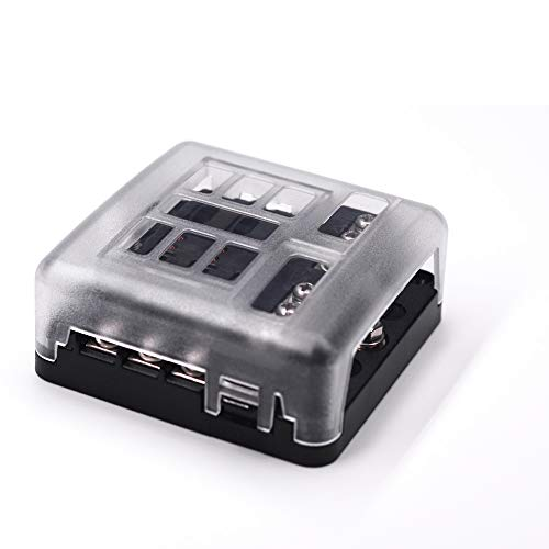 6-Way Fuse Block W/Negative Bus - JOYHO ATC/ATO Fuse Box with Ground, LED Light Indication & Protection Cover, Bolt Connect Terminals,70 pcs Stick Label, For Vehicle Car Boat Marine Auto