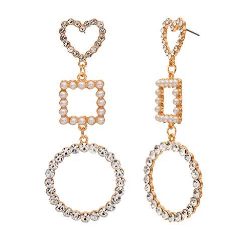 kitt Women's Long Earrings Creative Bohemian Pearl Inlay Zircon Girls Sweet Jewelry Gift