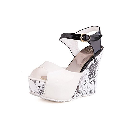 Black Women's Buckle Toe Peep Solid Patent Leather WeenFashion Sandals Heels High qdCvEtwo