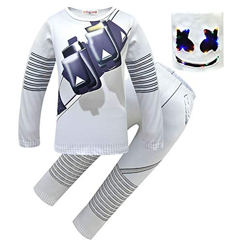 Kid Boys Marshmallow Cosplay Costume Cotton Long Sleeve Pajama Sets Boy's Shirt and Pants Outfits Set with Light Mask (White, 120/Height:3'6-3'95) ()