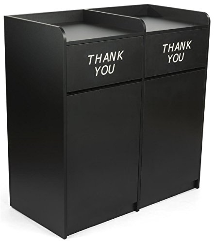 Displays2go 36 Gallon Dual Waste Receptacle, Side by Side Design, Thank You Message, MDF Construction - Black (LCKDPZSSBK) (Thank You Garbage Can)