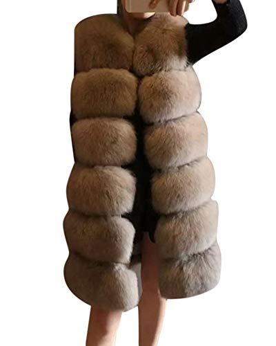 Manteau Casual Fourrure Chaud Manches Gilet Veste Sans Femme Duveteux Kaki Artificielle 6qdw61