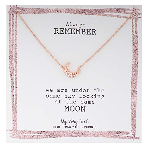 My Very Best Crescent Moon Necklace (Rose Gold Plated Brass)