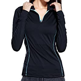 VOGUE CODE High Elasticity Athletic Half Zip-up Quick Dry Outwear Yoga Sweat Absorption T-shirt