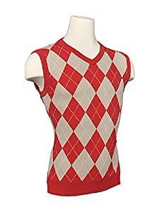 Ladies Colorful 1920s Sweaters and Cardigans History Womens Argyle Golf Sweater Vest - Red/Khaki/White Overstitch $55.00 AT vintagedancer.com
