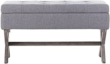 Boraam Angelina Upholstered Storage Bench Grey
