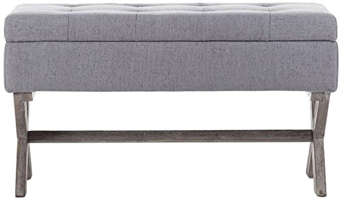 Boraam 85036 Angelina Upholstered Storage Bench, Grey - Stylish Furniture piece for any home Offers a grey upholstered Seat for added comfort and appeal Features folding driftwood Wire-brushed legs - entryway-furniture-decor, entryway-laundry-room, benches - 41mpCcUD5cL -