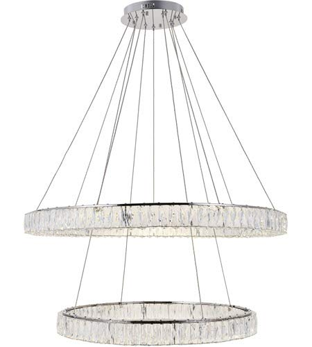 Elegant Lighting Monroe Integrated LED Light Chrome Chandelier Clear Royal Cut Crystal