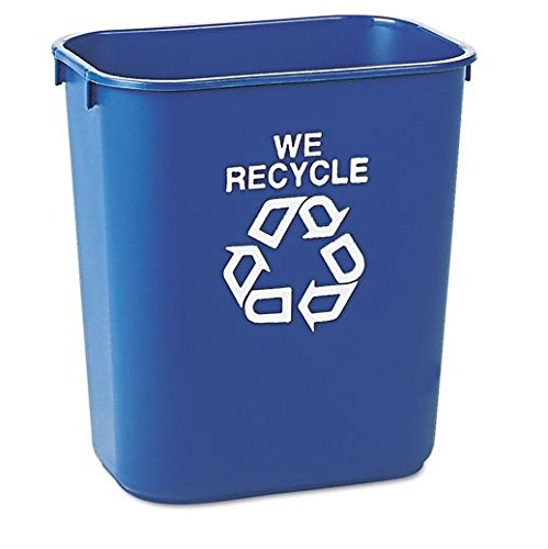 Deskside Paper Recycling Containers (Rubbermaid Commercial Small Deskside Recycling Container, Rectangular, Plastic, 13 5/8 qt, Blue - one recycling container. by Rubbermaid Commercial)