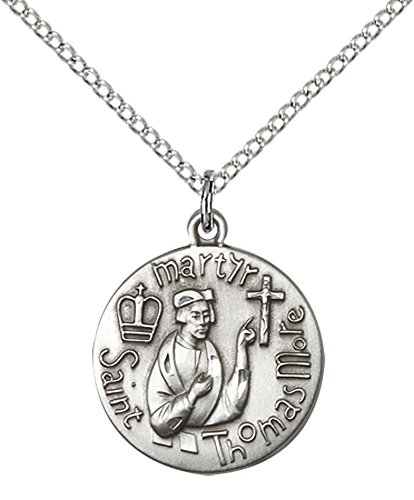 Sterling Silver St. Thomas More Pendant with 18