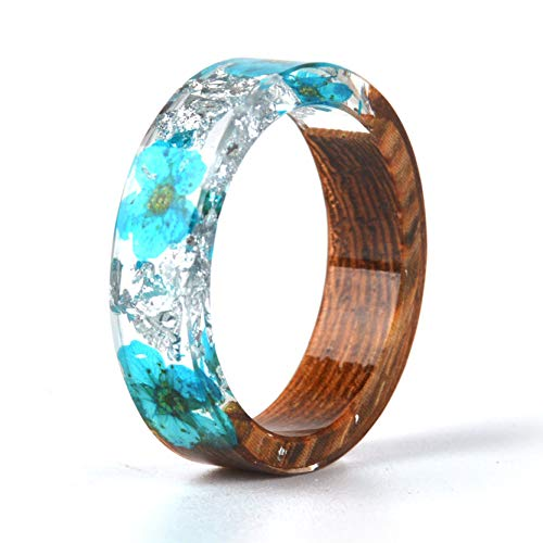 Unique Flower Ring - NDJEWELRY Unique Handmade Dried Flower Ring Wood Resin Ring with Silver Foil Blue Bloom Flower Ring Best Gift for Her Size 6.5