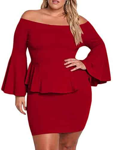 6aa35847f6f YONYWA Womens Plus Size Peplum Dresses Off The Shoulder Sexy Bell Sleeve  Mini Party Dress