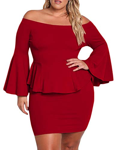 Mini Sexy Corset (Womens Plus Size Peplum Dresses Off The Shoulder Bell Sleeve Ruched Sexy Mini Party Dress)