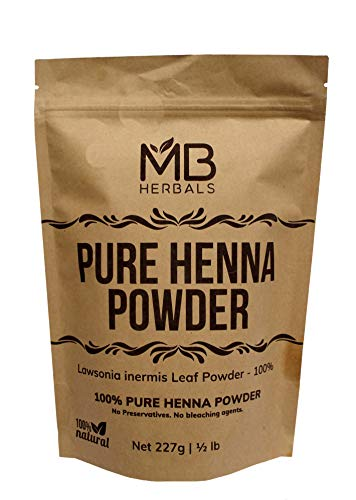 - MB Herbals Henna Powder 227 Gram| Half Pound | For Natural Hair Color | Triple Sifted | Raw | Non-Radiated |100% Natural - Nothing Added or Removed