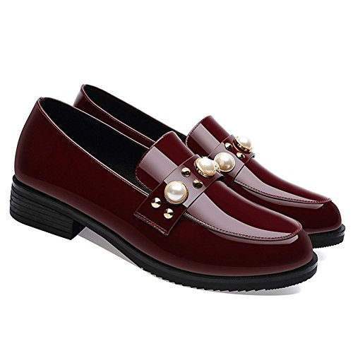 Zapatos Cuero de tamaño Color Rojo 37 Las 2018 Solos de Viento England pequeños Zapatos Zapatos Primavera Casuales Mujeres New xPwz1p5q