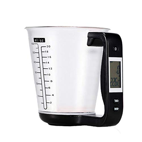 Chercherr Electronic Measuring Instrument, Multi-Function Digital Measuring Jug Kitchen Weigh Temperature Volume Cup Scale With DetachableLCD Display For Flour Sugar Milk Water Oil (Black)
