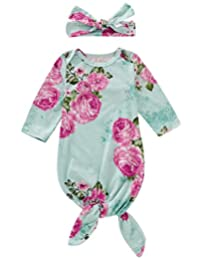 Bigbuyu Baby Nightgown Newborn Floral Cotton Baby Sleeping Bags Baby Girls Coming Home Outfits Set