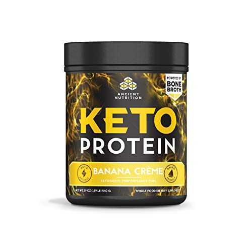 Ancient Nutrition KetoPROTEIN Powder Banana Creme, 17 Servings - Keto Diet Supplement, High Quality Low Carb Proteins and Fats from Bone Broth and MCT Oil