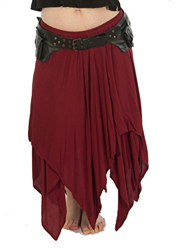 Dress Like A Pirate Brand Two Layer 8 Point Crinkle Gauze Gypsy Skirt (O/S, Burgundy) by Dress Like A Pirate