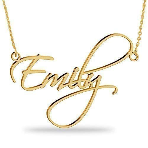 (18K Gold Plated Name Necklace Personalized Sterling Silver Necklace Pendent Gifts Custom with Any Name)