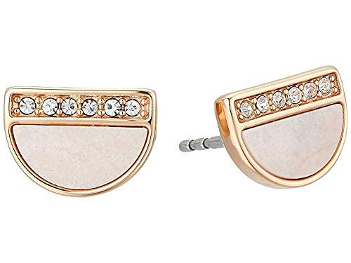 - Fossil Women's Pink Mother-of-Pearl Stud Earrings Rose Gold One Size