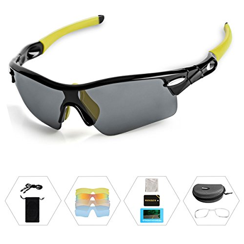 WONGKUO Polarized Outdoor Sports Glasses Men Women Cycling Sunglasses With 5 Interchangeable Lenses 100%UV Protection Fits for Fishing Running Golf Baseball Cycling Driving And All Outdoor - Uv Sunglasses Rating