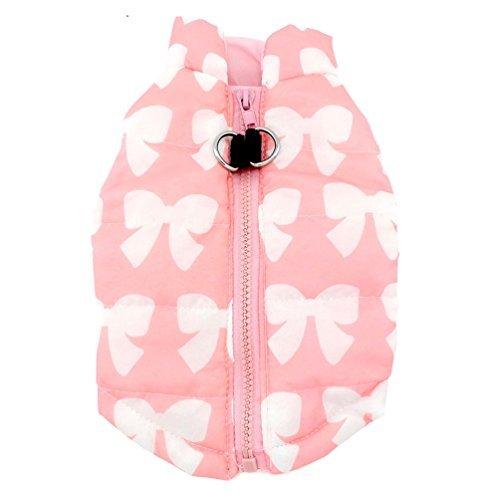 smalllee_lucky_store - Ropa de Perro pequeño para niñas con arnés Acolchado de arnés de Invierno, Talla M, Color Rosa