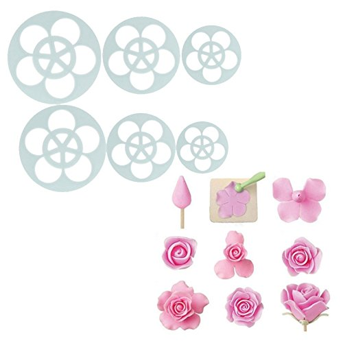 Bubble Costume Diy Guppies (JD Million shop 6Pcs Rose Flower Cake Pastry Plunger Cutters Fondant Cookie Chocolate Baking Moulds DIY Mold Cutter Baking)