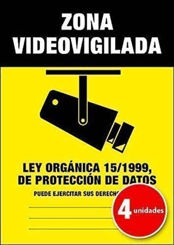 Lote (Pack) de 4 unidades | Pegatina Cartel Alarma ZONA VIDEOVIGILADA Disuasorio Aviso 15/1999-4 unidades