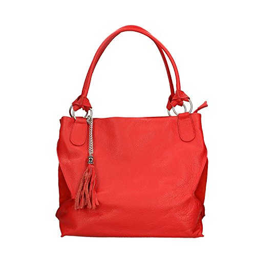36x28x17 Made Italy Chicca Cm In Borse Genuine Red Woman Bag In Leather HH7qR