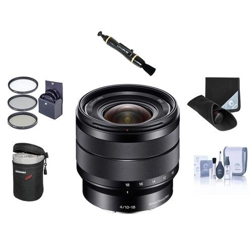 Sony 10-18 F/4 E-Mount NEX Camera Lens Bundle. #SEL1018 Value Kit with Acc