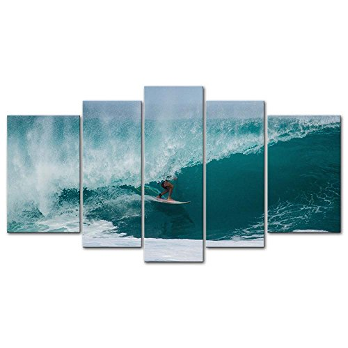 Canvas Wall Art Paintings for Home Decor Surfing Picture 5 Pieces Modern Giclee Framed Beach Waves Artwork The Pictures for Living Room Decoration Seascape Photo Prints On Canvas