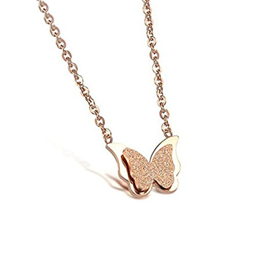 Stainless Steel Double Butterfly Necklace (Gold) - 4