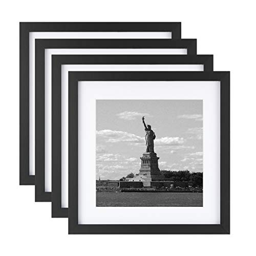 ONE WALL 11x11 Picture Frame Tempered Glass with Mats for 8x8 Photo, Set of 4, Black Wood Frame for Wall and Tabletop - Mounting Hardware Included