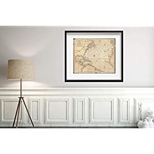Map|1683 Mortier of North America, The West Indies, and The Atlantic Ocean -|Historic Antique Vintage Reprint|Size: 20x24|Ready to Frame