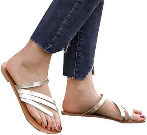 1e26611ae08b Women Simple Open Toe Breathable Beach Sandals Rome Casual Slip-On Flat  Shoes