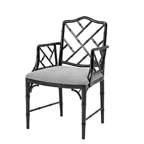 Dixon Upholstered Black Lacquered Bamboo Frame Dining Armchair | Eichholtz Infinity | Modern Oriental Chinese Chippendale Chair | Luxury Kitchen & Dining Room Furniture