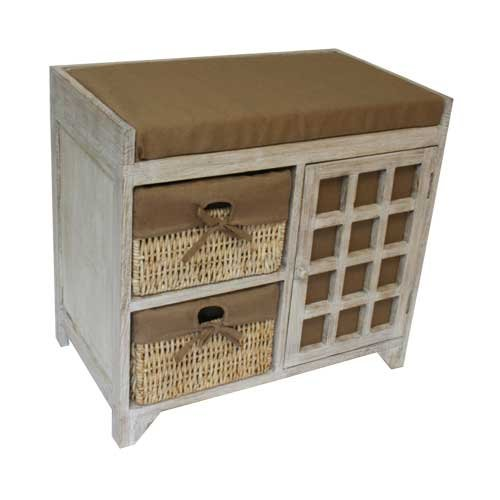 Natural Basket Storage Maize (JVL 2-Drawer Seated Wood Unit with Lined Maize Drawers, Flamed, 59 x 35 x 55 cm)