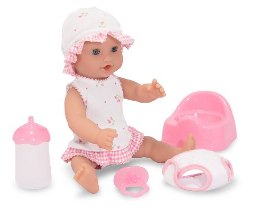 Melissa & Doug Mine to Love Annie 12-Inch Drink and Wet Poseable Baby Doll With Potty, Bottle, Pacifier, Diaper, (Love Drinks)