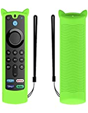 Fit Designed for 2021 Fire TV Stick 4K Alexa Voice Remote Control (3rd Gen), Suublg Silicone Remote Case Protective Covers with Anti Slip Lanyard - Full Access to All Buttons (LuminousGreen)
