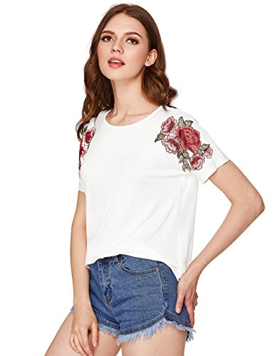 Medium White T-shirt Embroidered (Milumia Women's Embroidered Flower Patch Curved Tee White Medium)