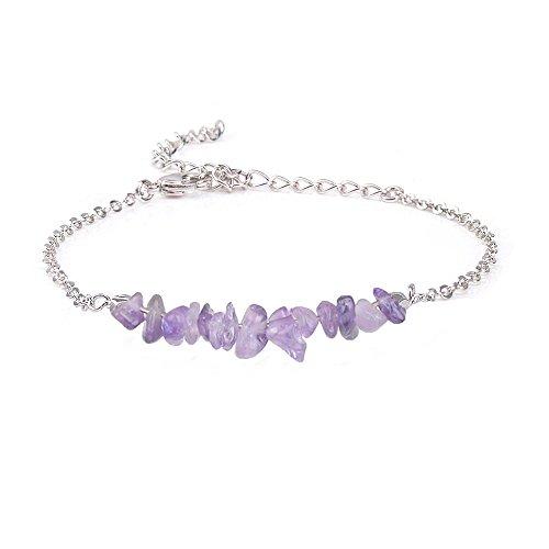 Jeka Amethyst Crystal Gemstone Bracelet for Women Girls Natural Purple Stone Bar 18K White Gold Chain Jewelry Dainty Gifts for Valentine