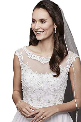 Passat White 1 Tier 2M Crystalline Wedding Veil Edged with Rhinestones - Rhinestones Veil