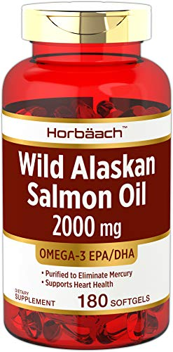 Tablets 500 Pet Form - Horbaach Wild Alaskan Salmon Fish Oil 2000 mg 180 Softgels | Gluten Free, Non-GMO | High Potency | Excellent Source of Omega-3 Fatty Acids EPA and DHA