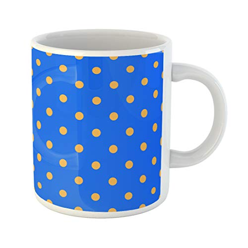 Cobalt Platinum Mug - Semtomn Funny Coffee Mug Pattern Polka Dot Mustard Yellow and Cobalt Blue Cornflower 11 Oz Ceramic Coffee Mugs Tea Cup Best Gift Or Souvenir
