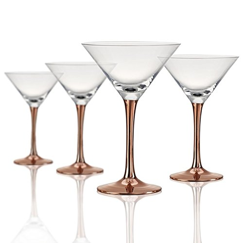 Artland 52013B Coppertino Martini Glass, Set of 4, 10 oz, Clear/Copper