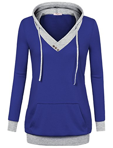 [해외]Timeson Women 's V-neck 긴 소매 풀오버 후드 캥거루 포켓/Timeson Women`s V-Neck Long Sleeve Pullover Hoodies with Kangaroo Pocket